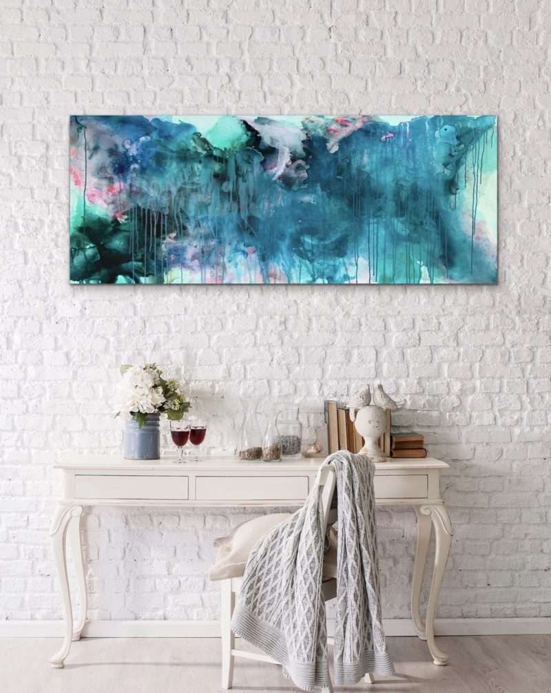 LARGE ABSTRACT LANDSCAPE BLUE READY TO HANG