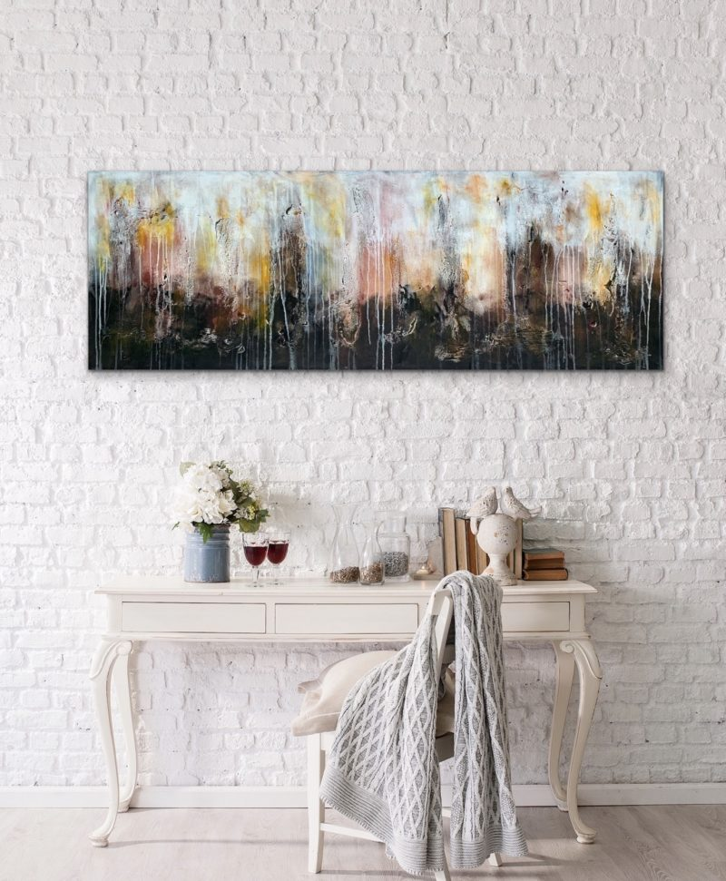LARGE ABSTRACT ALANDSCAPE ORIGINAL PAINTING READY TO HANG