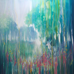 large abstract landscape painting on canvas ready to hang by Gill Bustamante