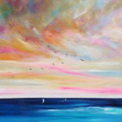 LARGE SUNSET SEASCAPE PAINTING