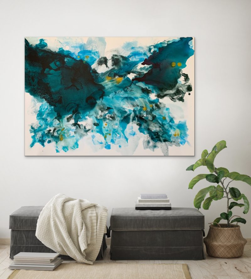 Original Abstract Art Painting In Blue