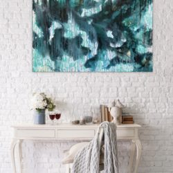 abstract painting in turquoise