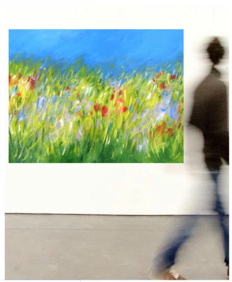 LARGE MEADOW PAINTING ON CANVAS ART GALLERY PAINTING