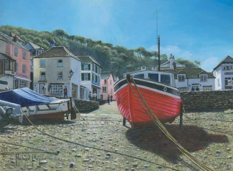 red boat polperro cornwall original painting