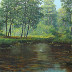 landscape forest brook canvas by Oleg Riabchuk