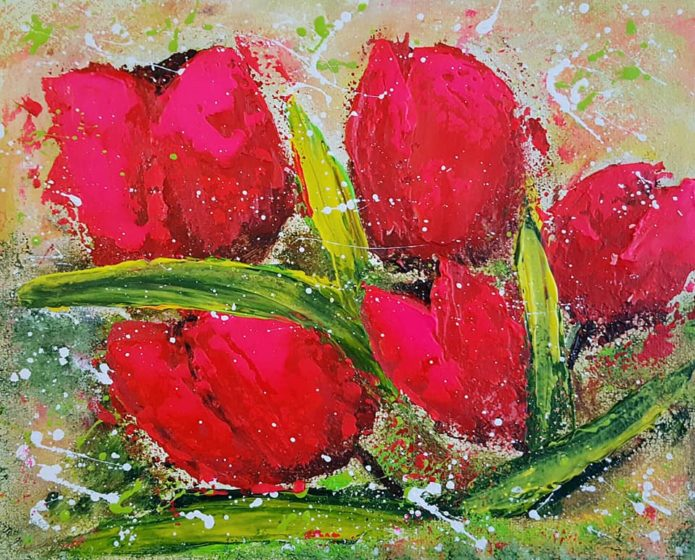 red tulips painting