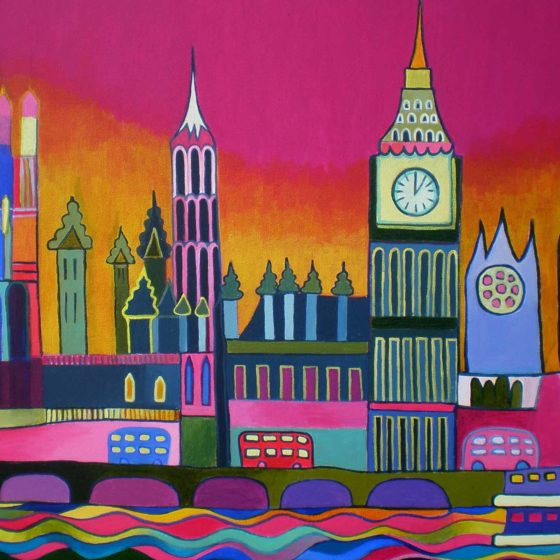 colourful london painting by liz allen