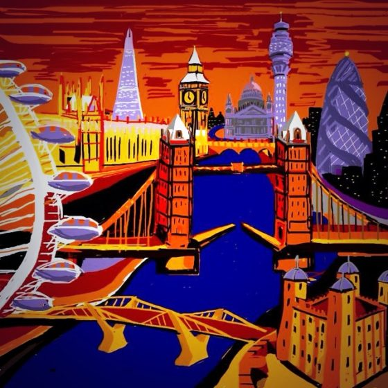 london eye cityscape painting