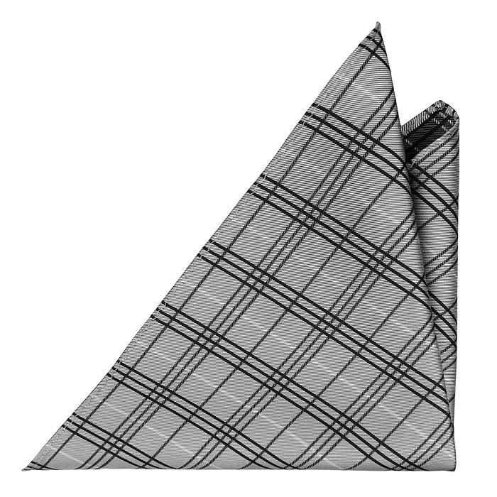 Bröstnäsduk i Siden - Grå botten och rutmönster i vitt och svart - Notch ALBERT