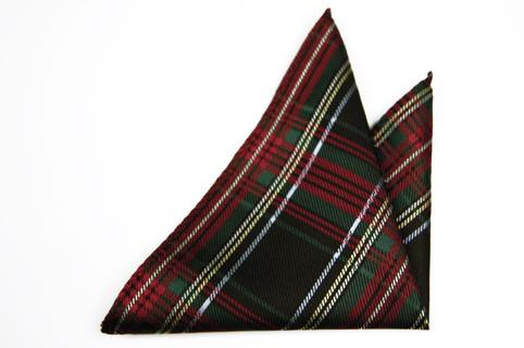 Bröstnäsduk i Siden - Ett rutmönster i svart, rött, vitt, grönt och gult