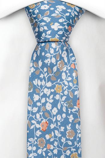Smal Slips i Siden - Tryckt blommönster på blått italienskt siden - Notch ANDREA