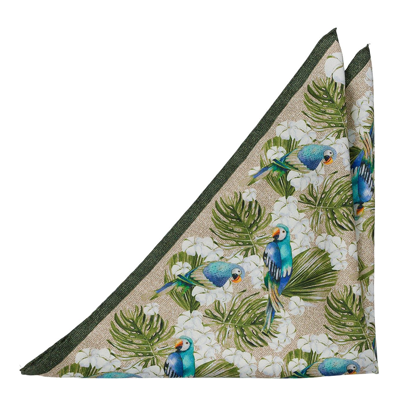 Bröstnäsduk i Siden - Blå papegojor och lövverk på khaki-beige bakgrund