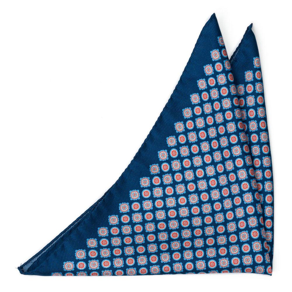 Bröstnäsduk i Siden - Blommedaljonger på marinblått - Notch ARAZZO Navy blue