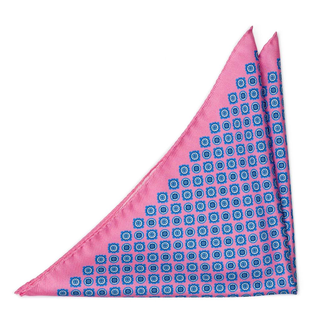 Bröstnäsduk i Siden - Blommedaljonger på ljusrosa - Notch ARAZZO Pink