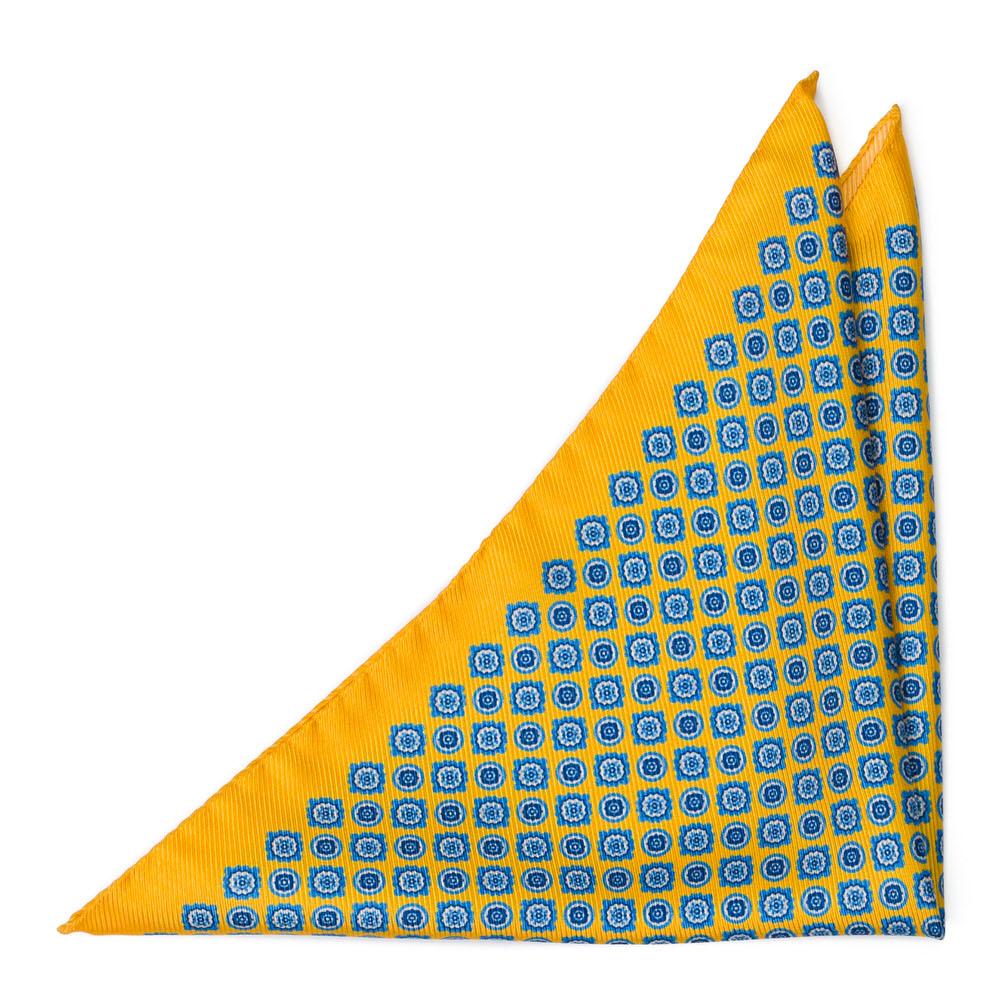 Bröstnäsduk i Siden - Blomstermedaljonger på gult - Notch ARAZZO Yellow