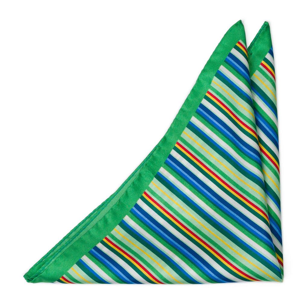 Bröstnäsduk i Siden - Tunna, flerfärgade ränder på klargrönt