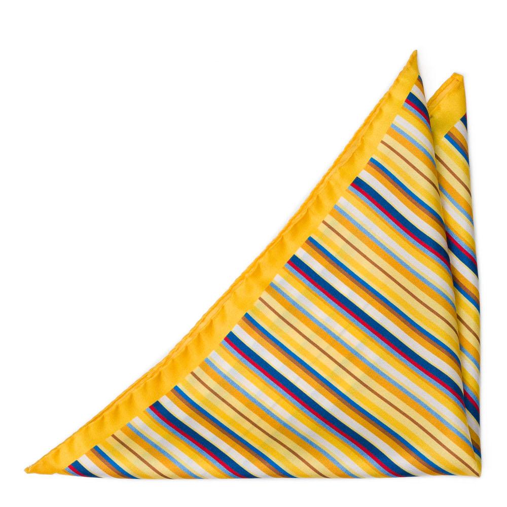Bröstnäsduk i Siden - Tunna, flerfärgade ränder på klargult
