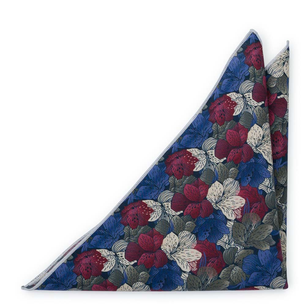Bröstnäsduk i Bomull - Blommor i vitt, vinrött, khakigrönt & lila