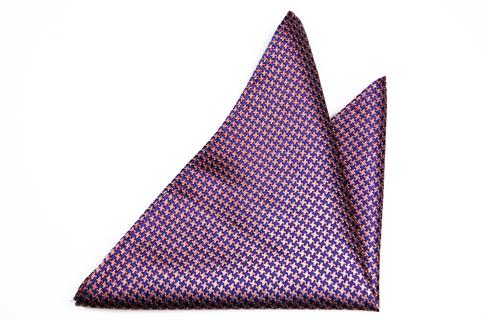 Bröstnäsduk i Siden - Hundtandsmönster i rosa och blått - Notch AXEL