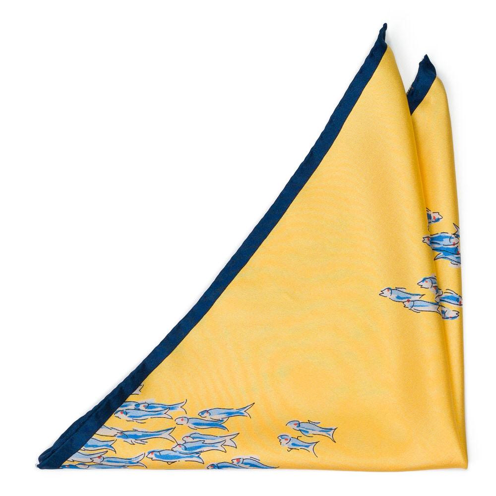 Bröstnäsduk i Siden - Blåvitt fiskstim på gult - Notch BASSOFONDO Yellow