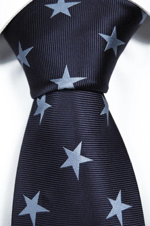 Slips i Siden - Marinblå botten och ljusblåa stjärnor - Notch BENGT
