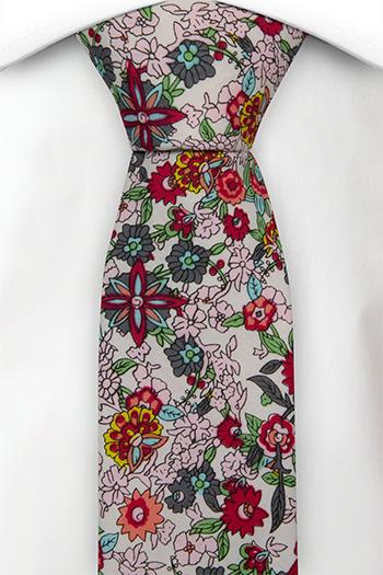 Smal Slips i Bomull - Vit bas med blommor i flera färger