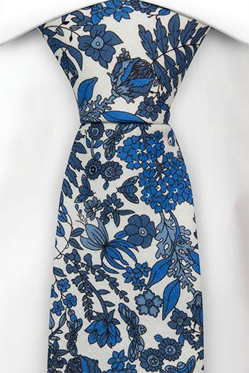 Slips i Bomull - Vit bas med blå blommor - Notch BLUEBREW White