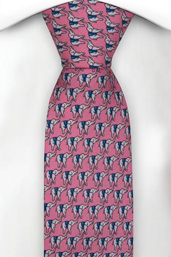 Smal Slips i Siden - Små vita och blå eleganter på rosa bas