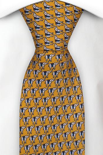 Slips i Siden - Små vita och blå eleganter på gul bas - Notch BOCCAGLIO Yellow