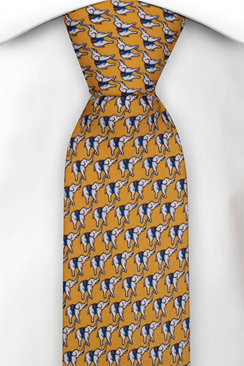 Smal Slips i Siden - Små vita och blå eleganter på gul bas