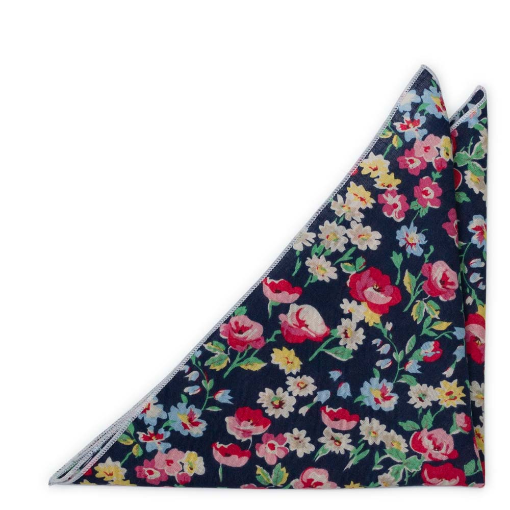 Bröstnäsduk i Bomull - Ljusröda, vita, blå & gula blommor på marinblått
