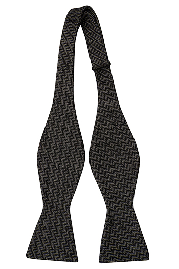 Oknuten Fluga i Ull - Svartgrått fiskbensmönster - Notch BRYN