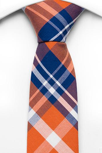 Smal Slips i Bomull - Orange bas, rutmönster i mörkblått och vitt - Notch CHENG