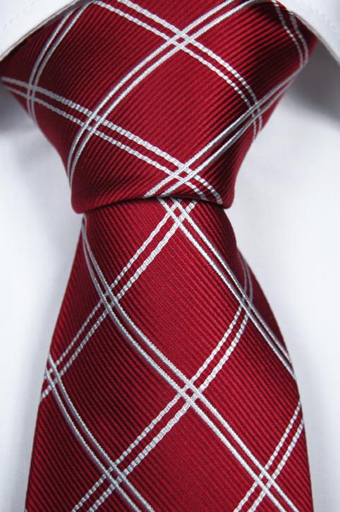 Slips i Siden - Röd botten och rutmönster i snövitt - Notch CHRISTOPHER