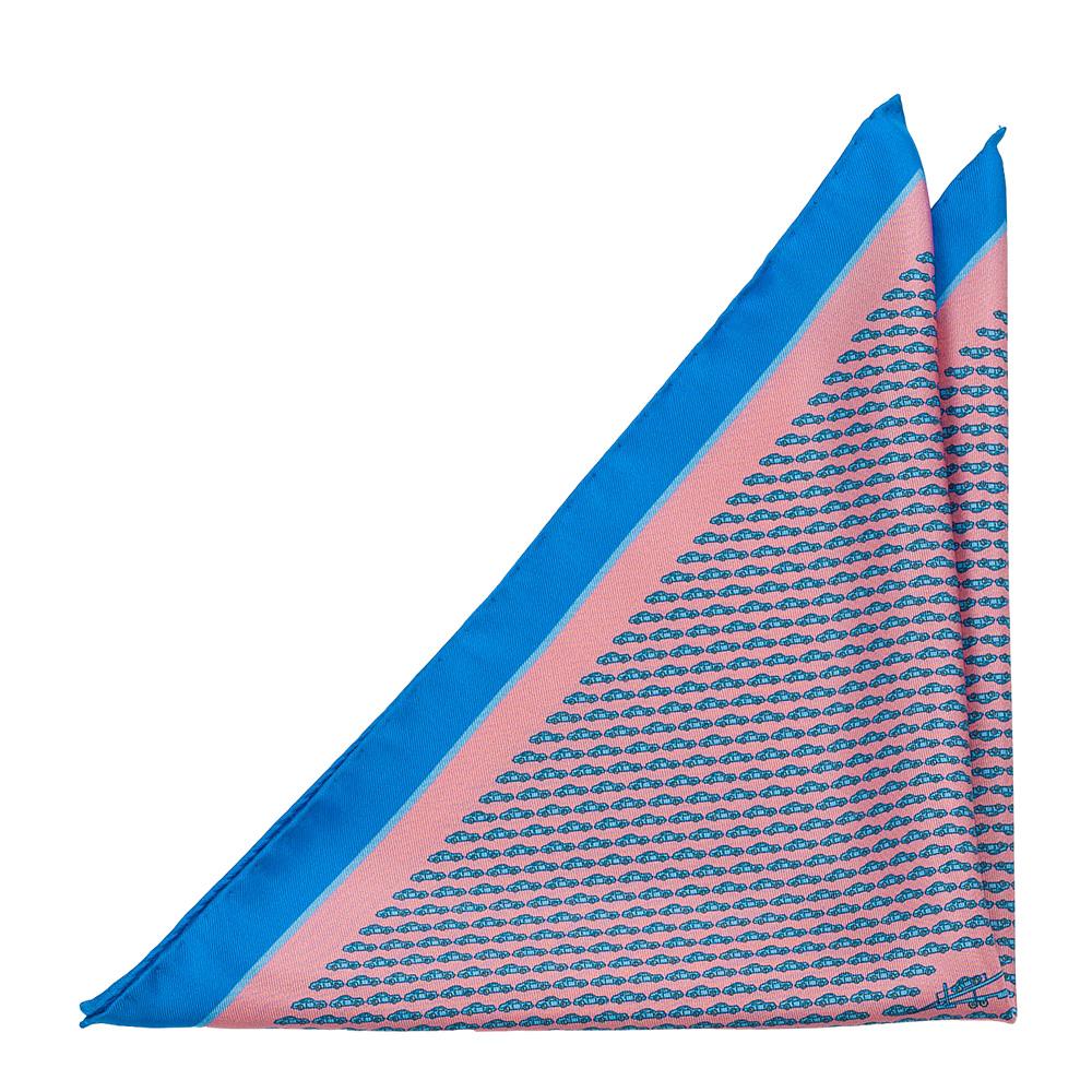 Bröstnäsduk i Siden - Ljusblå bilar & biltransport på rosa med blå ram