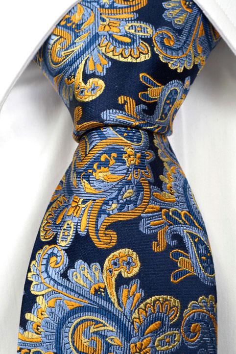 Slips i Siden - Marin botten och paisley i blått och guld - Notch CLARK