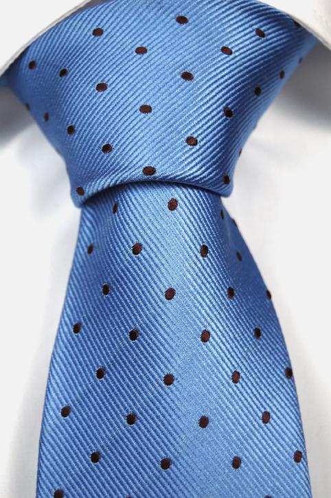 Slips i Siden - Ljusblå botten och bruna prickar - Notch CLEMENCE