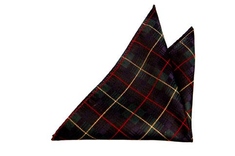 Bröstnäsduk i Siden - Mörkblå botten och rutor i rött, gult och grönt.t