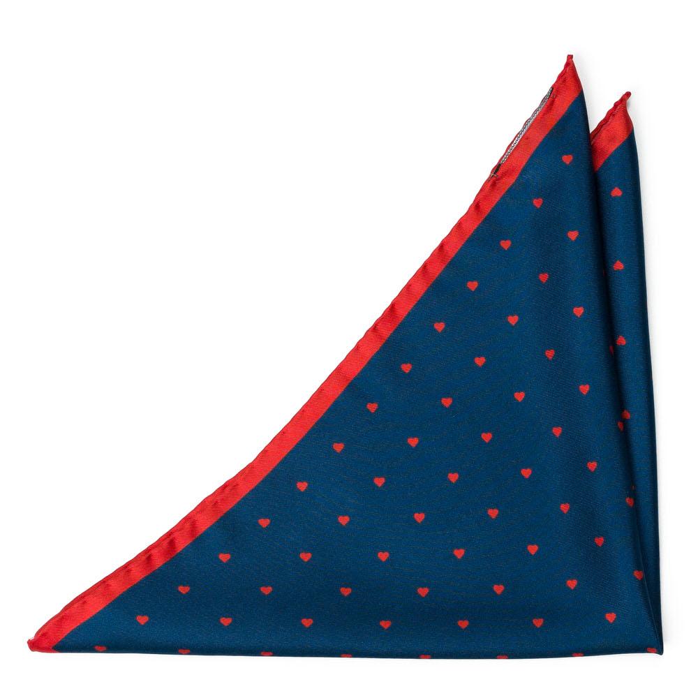 Bröstnäsduk i Siden - Röda minihjärtan på midnatsblått - Notch CUOROMANTICO Blue