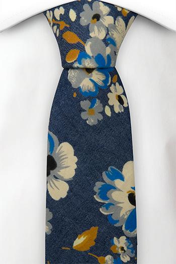 Smal Slips i Bomull - Jeansblå med blommor i vitt, blått och senap