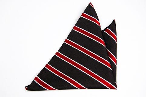Bröstnäsduk i Siden - Svart botten och ränder i rött och vitt - Notch DAMIEN