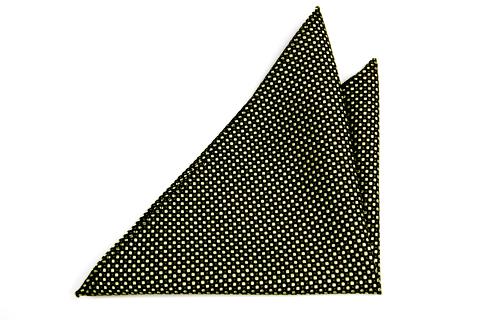 Bröstnäsduk i Siden - Svart botten och små prickar i guld och mörk grönt