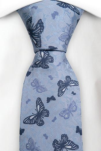 Slips i Siden - Ljusblå lövad bas, fjärilar i två blå nyanser - Notch DIEGO