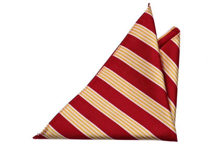 Bröstnäsduk i Siden - Mörkröd botten med ränder i vitt och gult - Notch DONALD