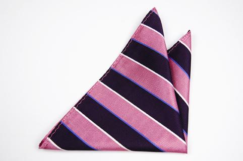 Bröstnäsduk i Siden - Ränder i rosa, blått och vitt - Notch ELMER