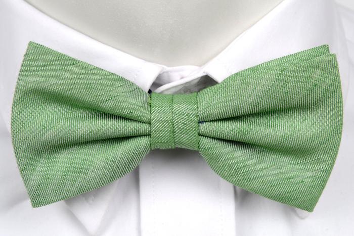 Knuten Fluga i Linne - Gröna toner med vita inslag - Notch ELWOOD