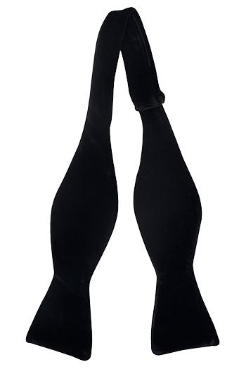 Oknuten Fluga i Bomull - Enfärgad, svart sammet - Notch EMERSHAN