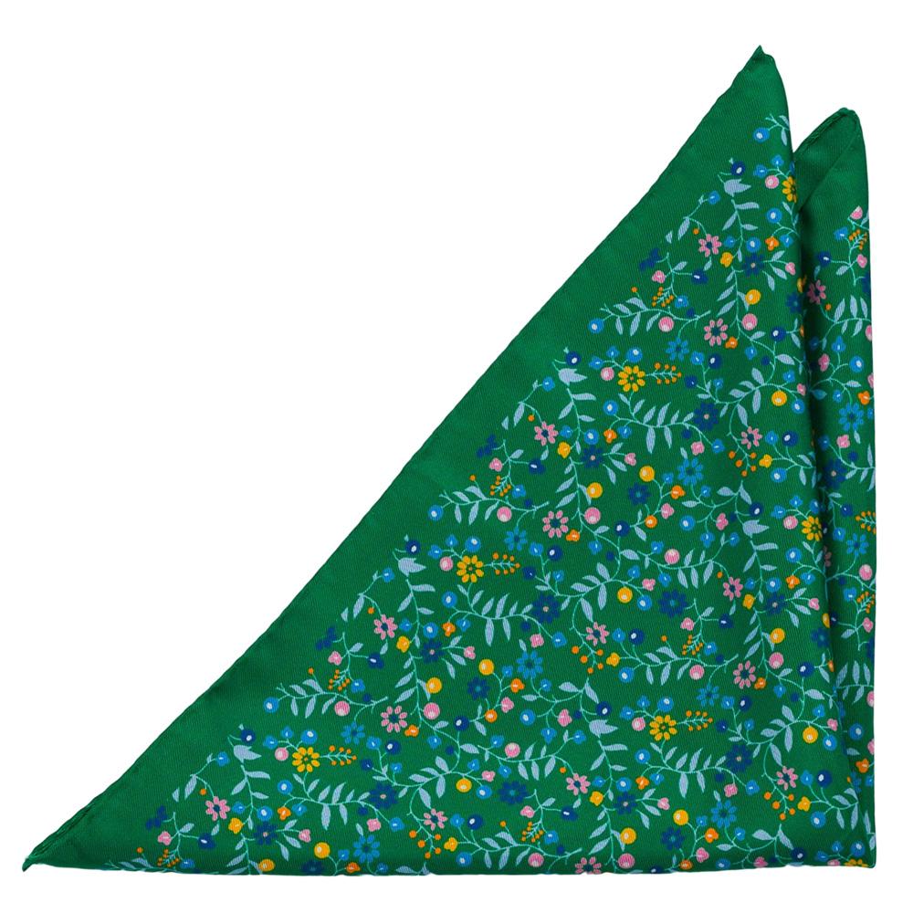 Bröstnäsduk i Siden - Små, mångfärgade blommor på smaragdgrön bas