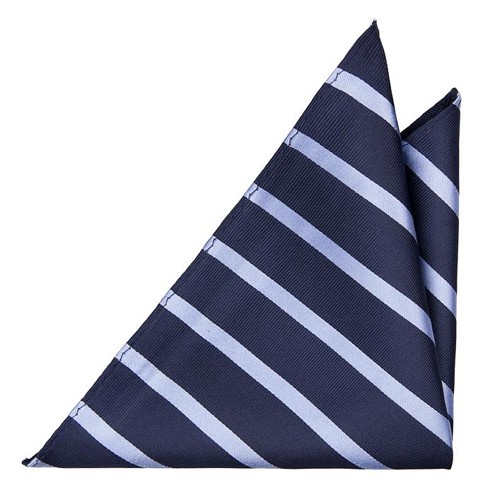 Bröstnäsduk i Siden - Marinblå botten och ljusblåa ränder - Notch FABIAN