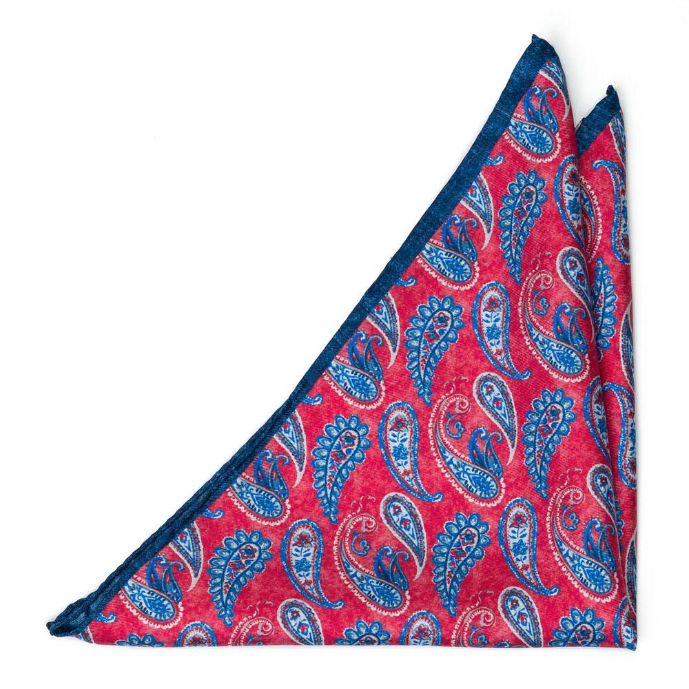 Bröstnäsduk i Siden - Blåvit paisley på klarrött - Notch FANTASMA Red